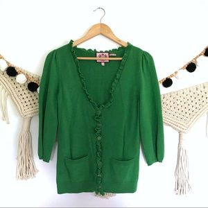 JUICY COUTURE Green Ruffle Button Front Cardigan